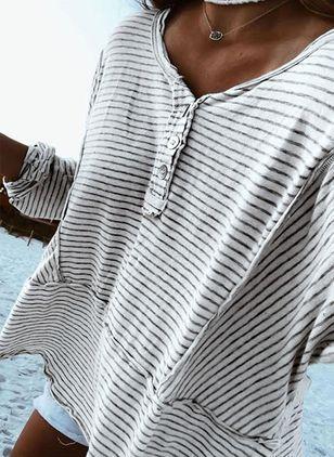 Lässige Kleidung Lange Ärmel Farbquadrat V-Ausschnitt Blusen – Floryday