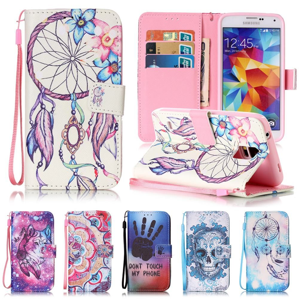 For Coque Samsung Galaxy S5 Case Flip Leather Wallet Silicone ...