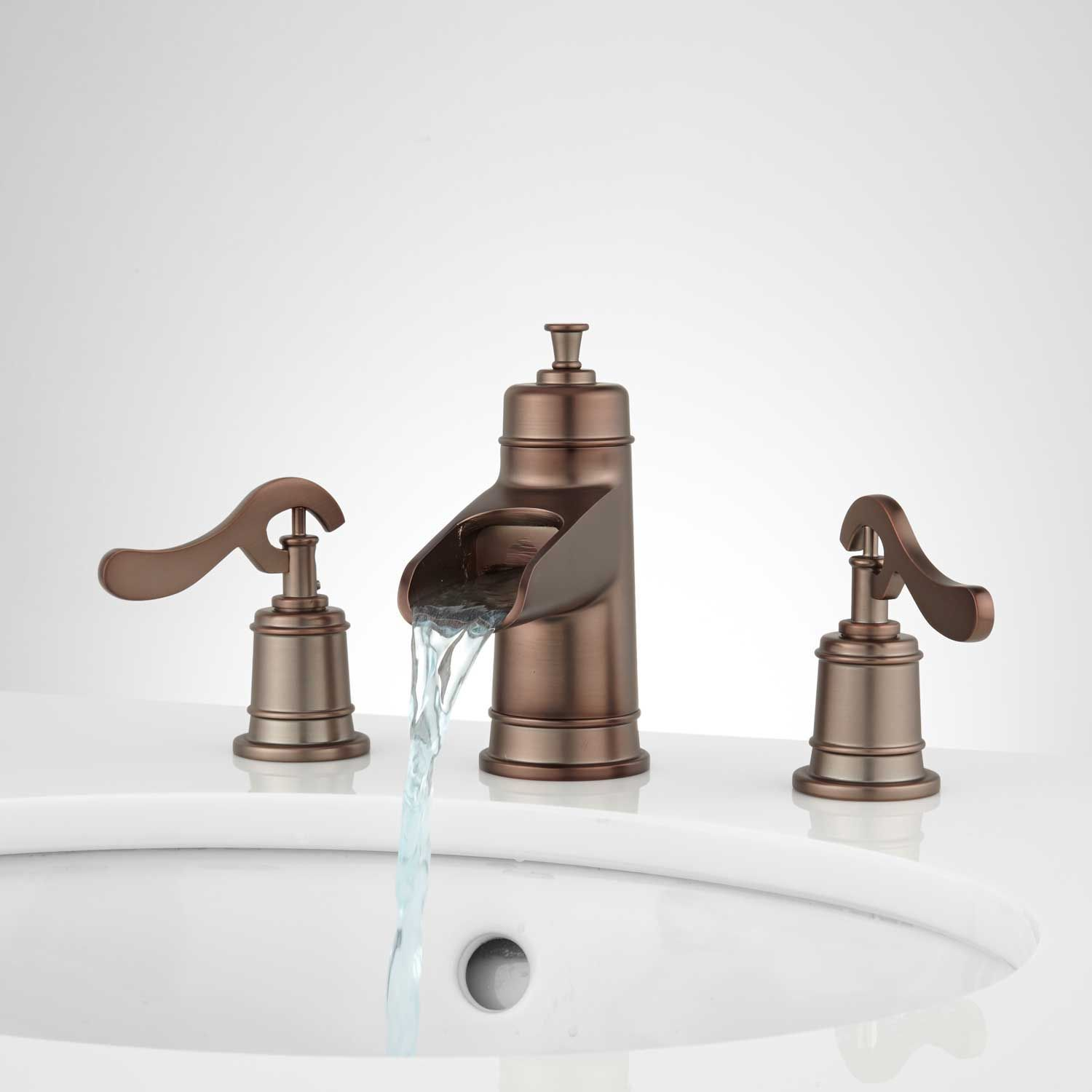 Melton Widespread Waterfall Bathroom Faucet No Overflow Oil Rubbed Bronze