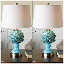 TWO AGED SKY BLUE CERAMIC FINISH TABLE LAMP ARTICHOKE LIGHT WHITE LINEN  SHADE