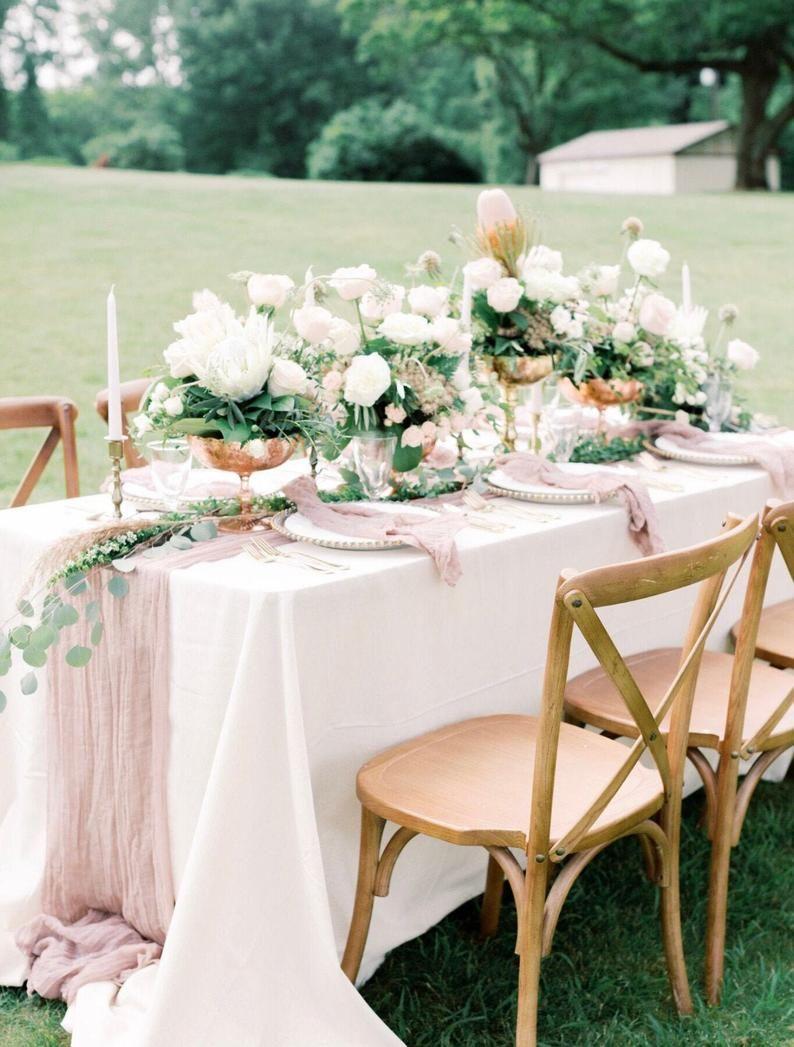 Mauve Gauze Runner Wedding Table Runner Centerpiece Blue Etsy Table Runners Wedding Rose Gold Table Runner Rose Gold Table