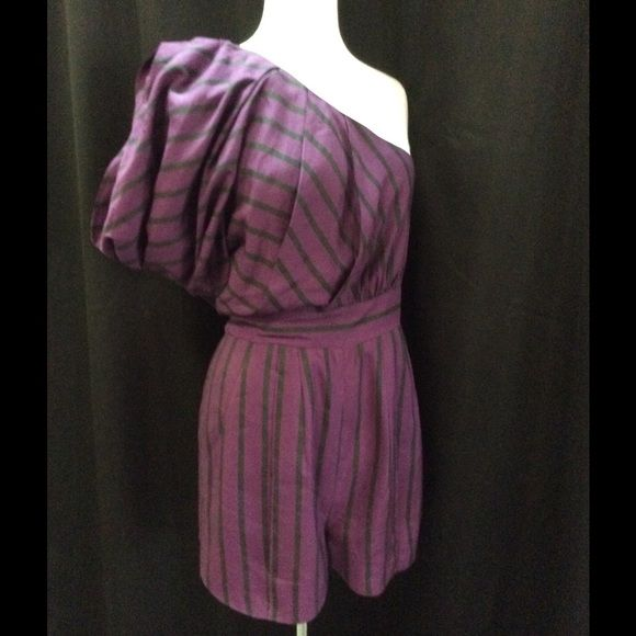 Camilla & Marc Purple and Army Green Romper Camilla & Marc Purple and Army Green Romper.  One-Shoulder with pockets.  ❤️. Size 6 camilla & marc Shorts