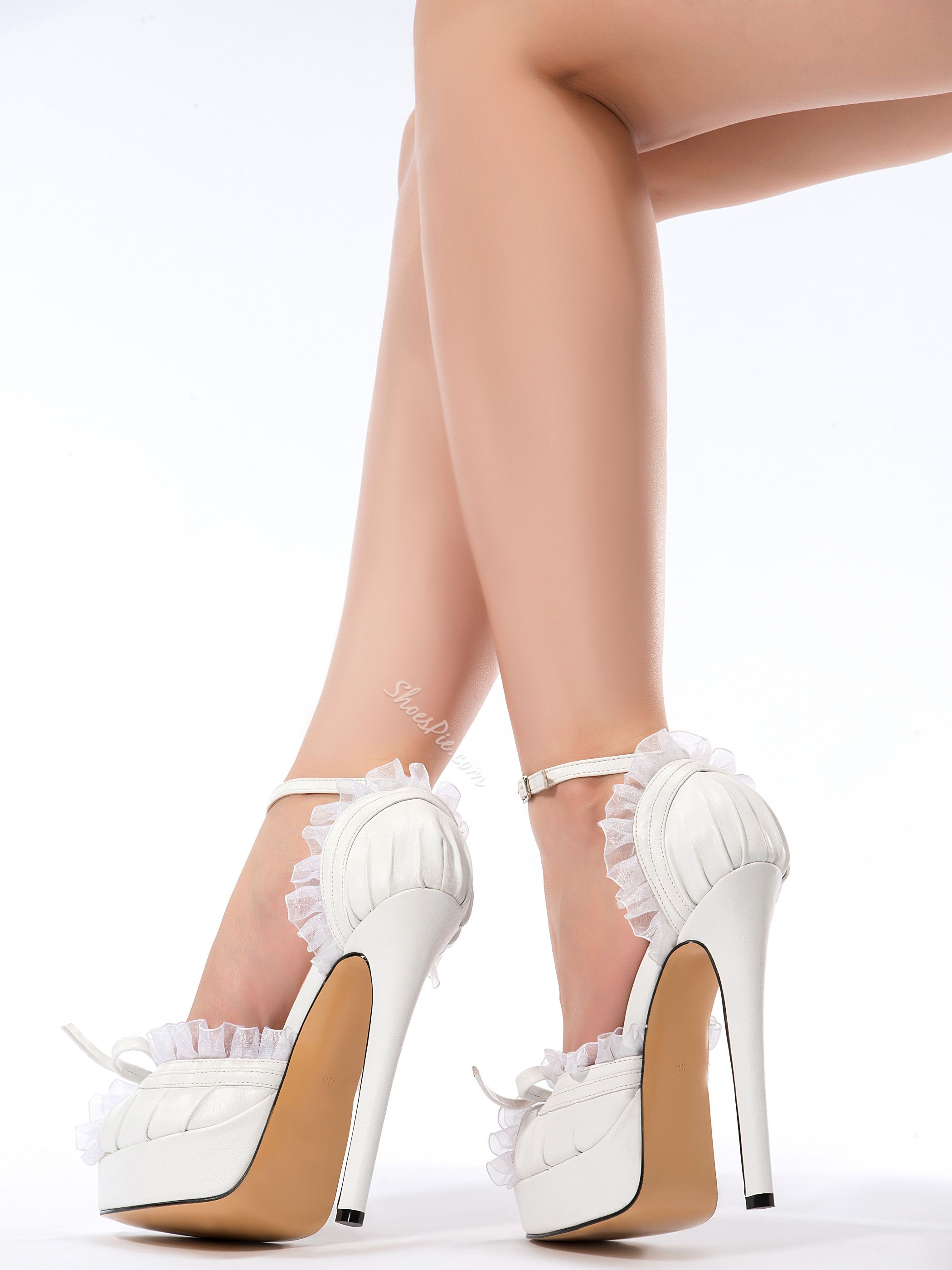 4472254f006 Elegant White PU Peep Toe Ankle Strap High Heel Shoes