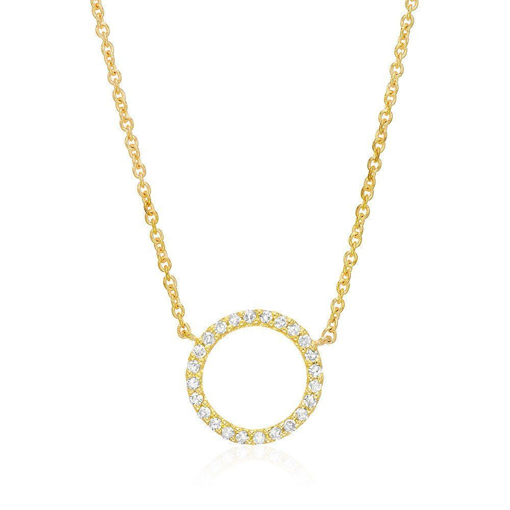 Open Circle Diamond Necklace