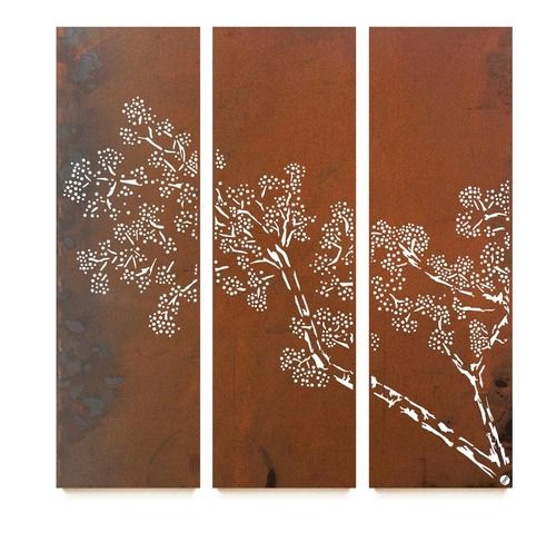 Natural rust hanging wall panel ceder triptych from earth homewares