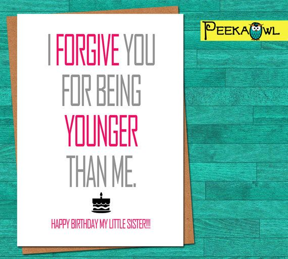 Instant Download Funny Birthday Card For Sister By PeekaOwl