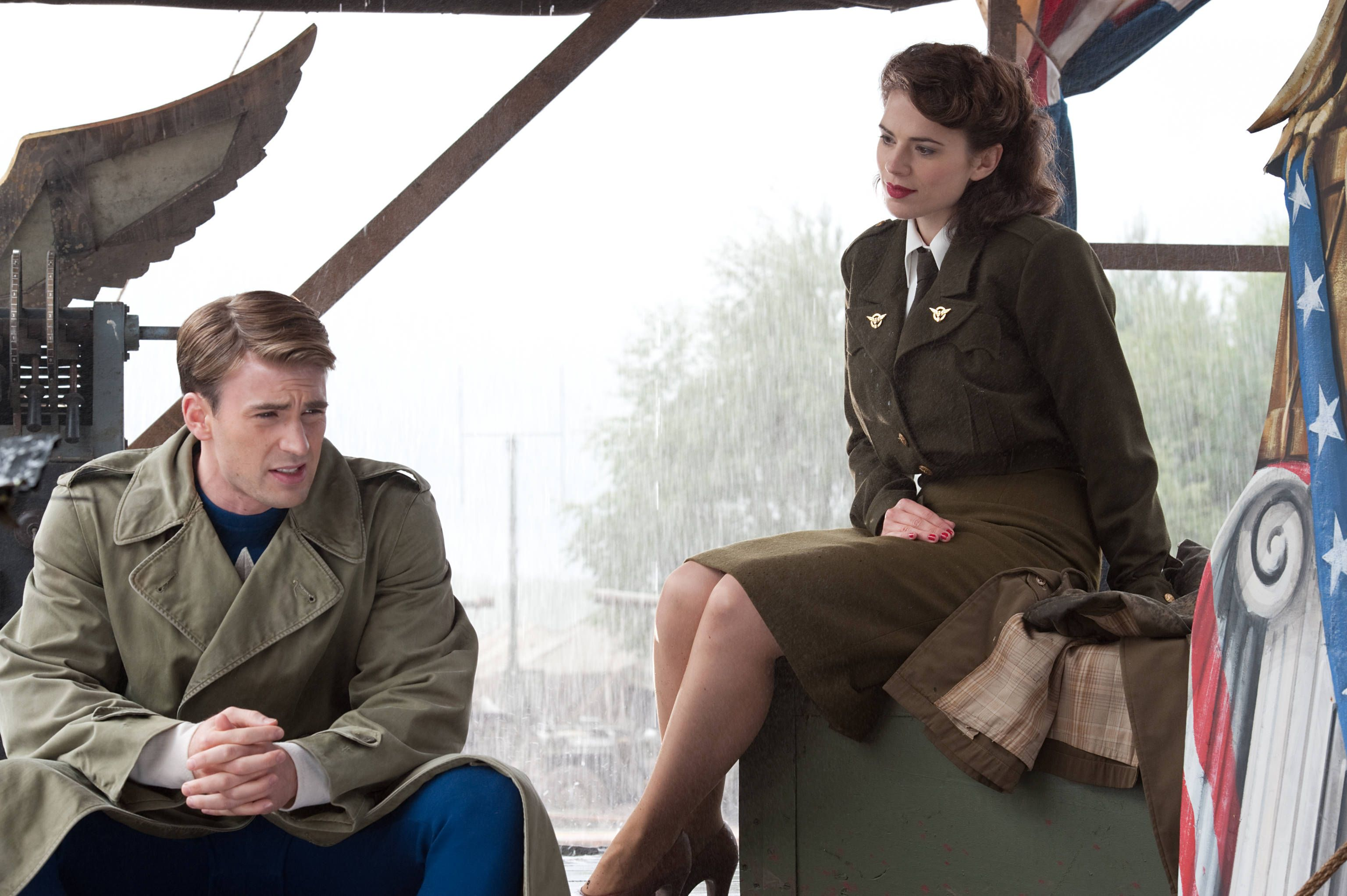 Steve Rogers (Chris Evans) and Peggy Carter (Hayley Atwell): Captain America, the First Avenger