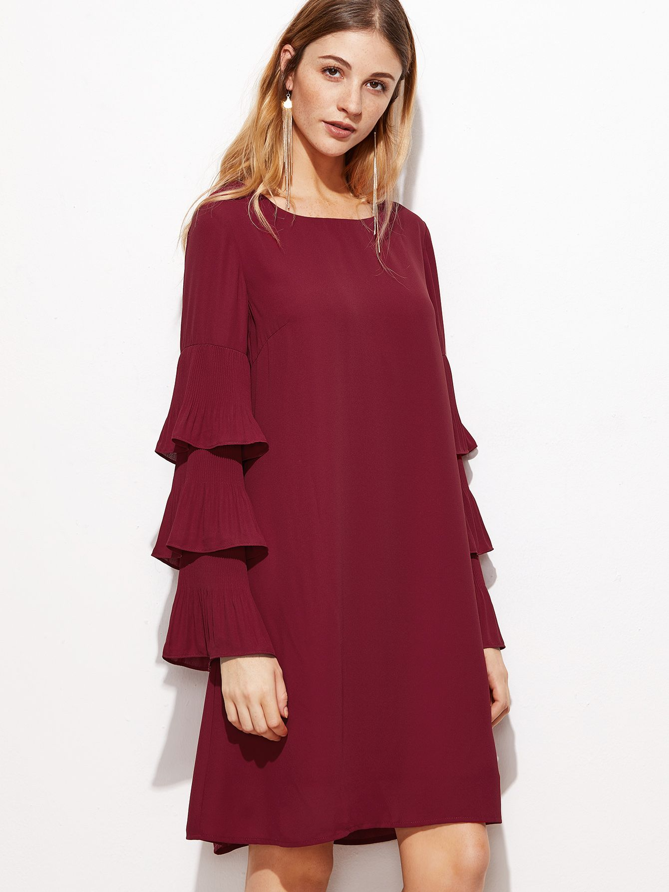 Online shopping for burgundy layered ruffle sleeve tunic dress from