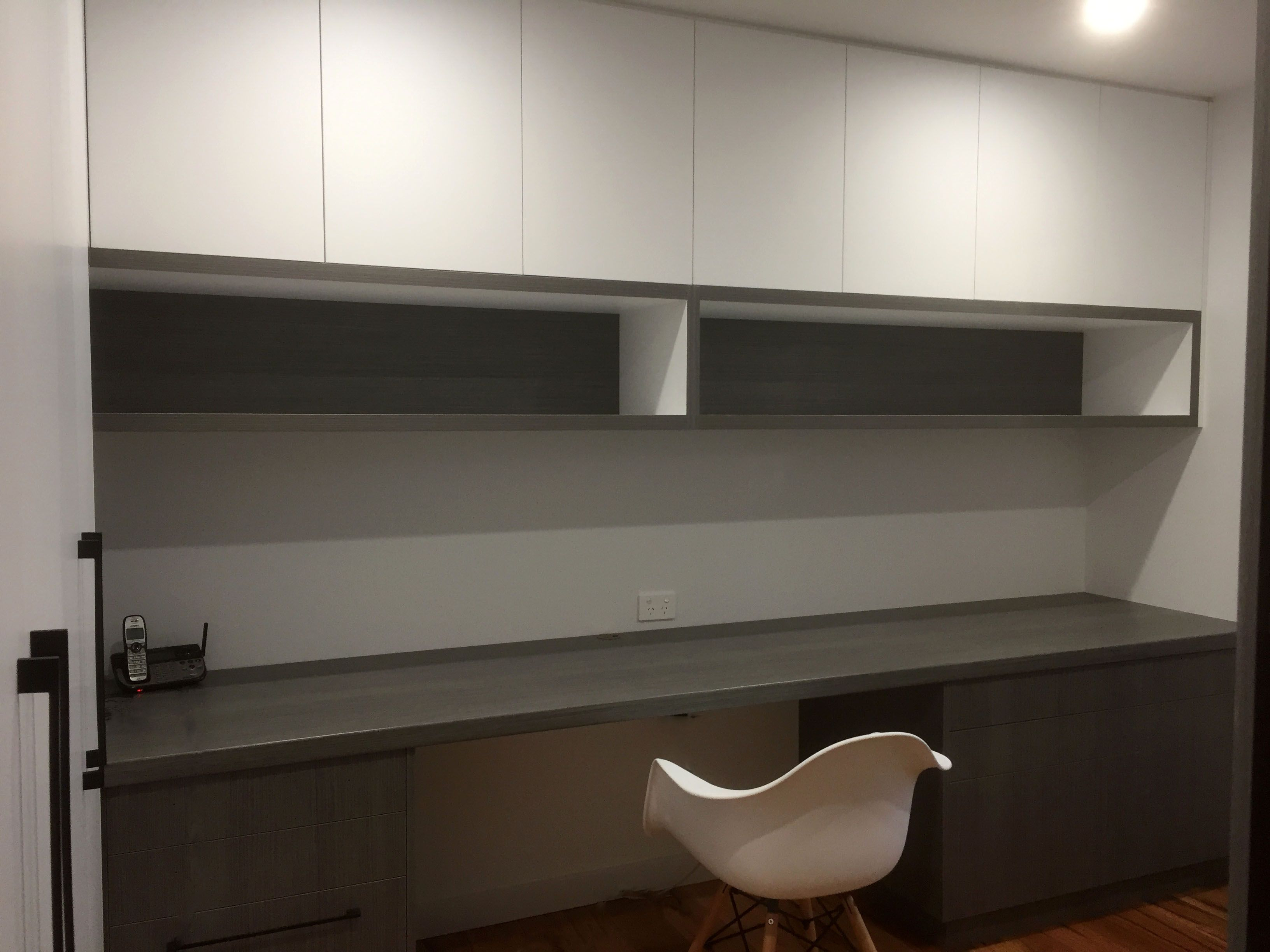 Home Office Study White Cupboards Open Shelves Desk File Drawers Black Handles Open Shelving White Cupboards Kitchen Cabinets