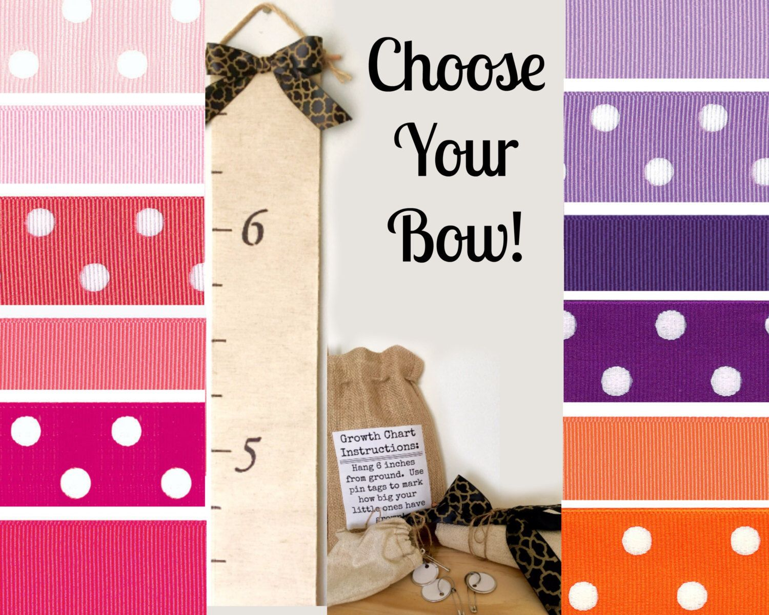 Custom growth chart personalized with your color bow https fabric growth chart with pin tags personalized nvjuhfo Choice Image