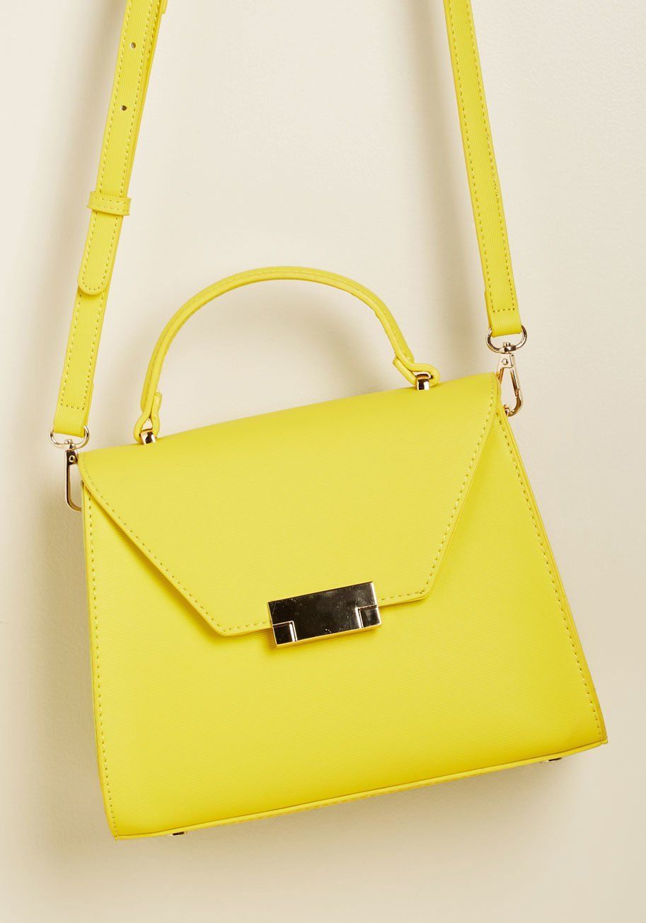 f85f5609ee9826 Even in the most crowded locales, your style stays shining, courtesy of  this yellow crossbody bag! Between this faux-leather purse's eye-popping  yet.
