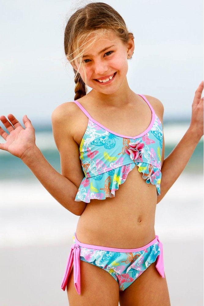 Girls Bikini Set with Tie Side & Frills