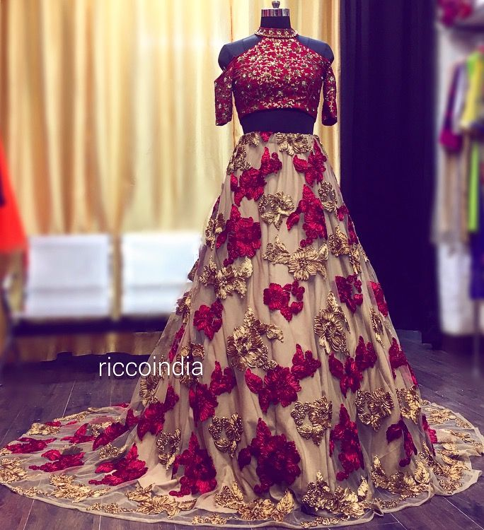 Indowestern Croptop Skirt With Tail For Indian Bride Bridalcouture