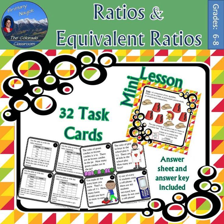 Ratios and Equivalent Ratio Activity Task Cards and Mini