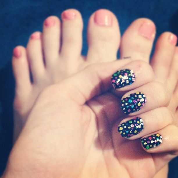 Classic toes and party nails! Nail stickers courtesy of Kiss Nails ...