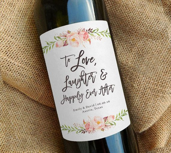 Custom Wine Bottle Label Wedding Favor Gift By Paperandlace