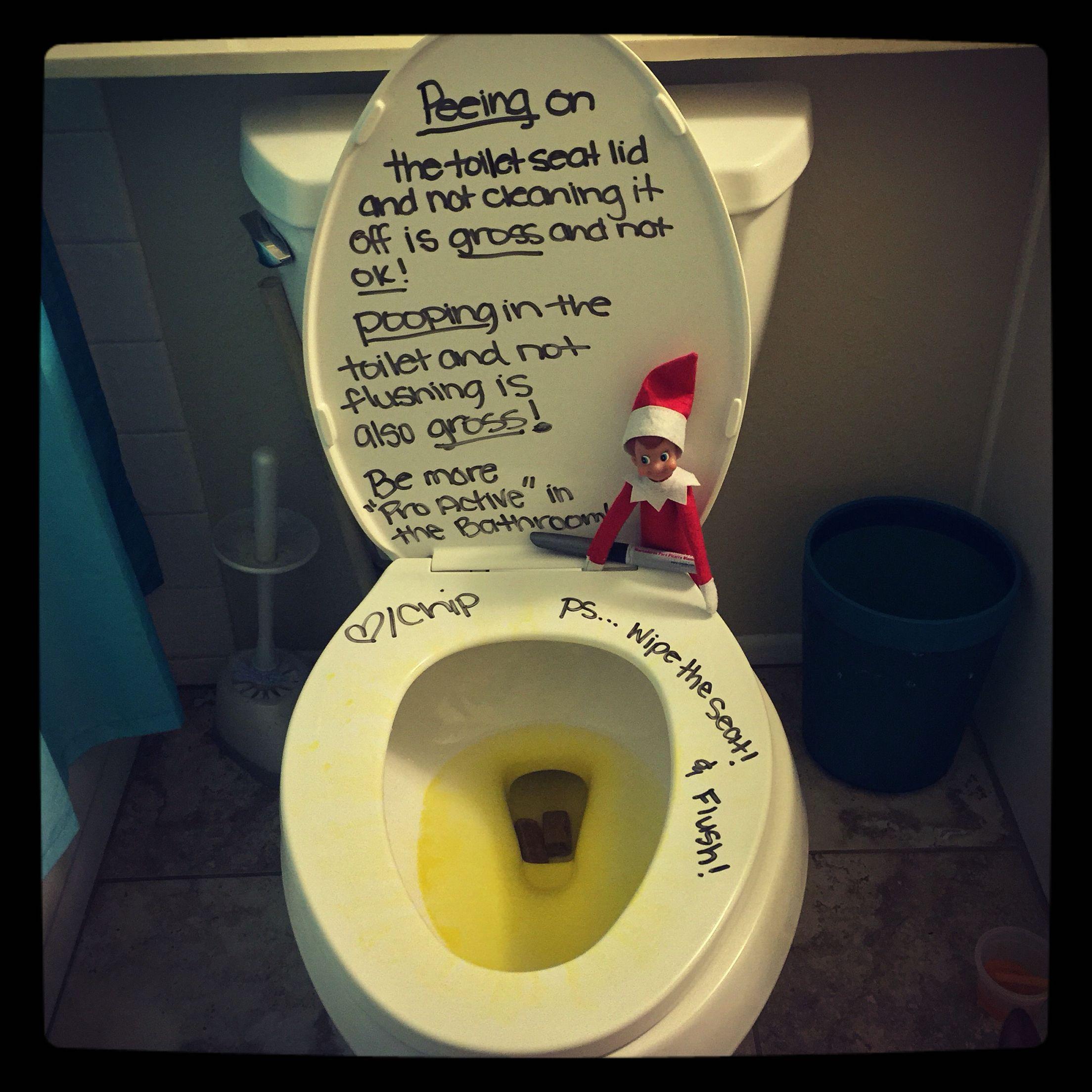 Elf on the Shelf! Bathroom etiquette reminder! | Elf on ...