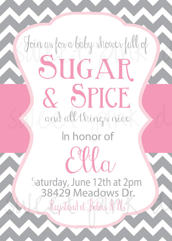 Sugar and Spice Baby Shower Invitation on Etsy 1750 Baby