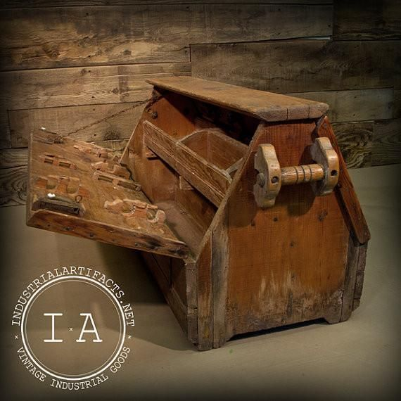 Vintage Industrial Carpenter S Tool Box Wooden Chest In 2019