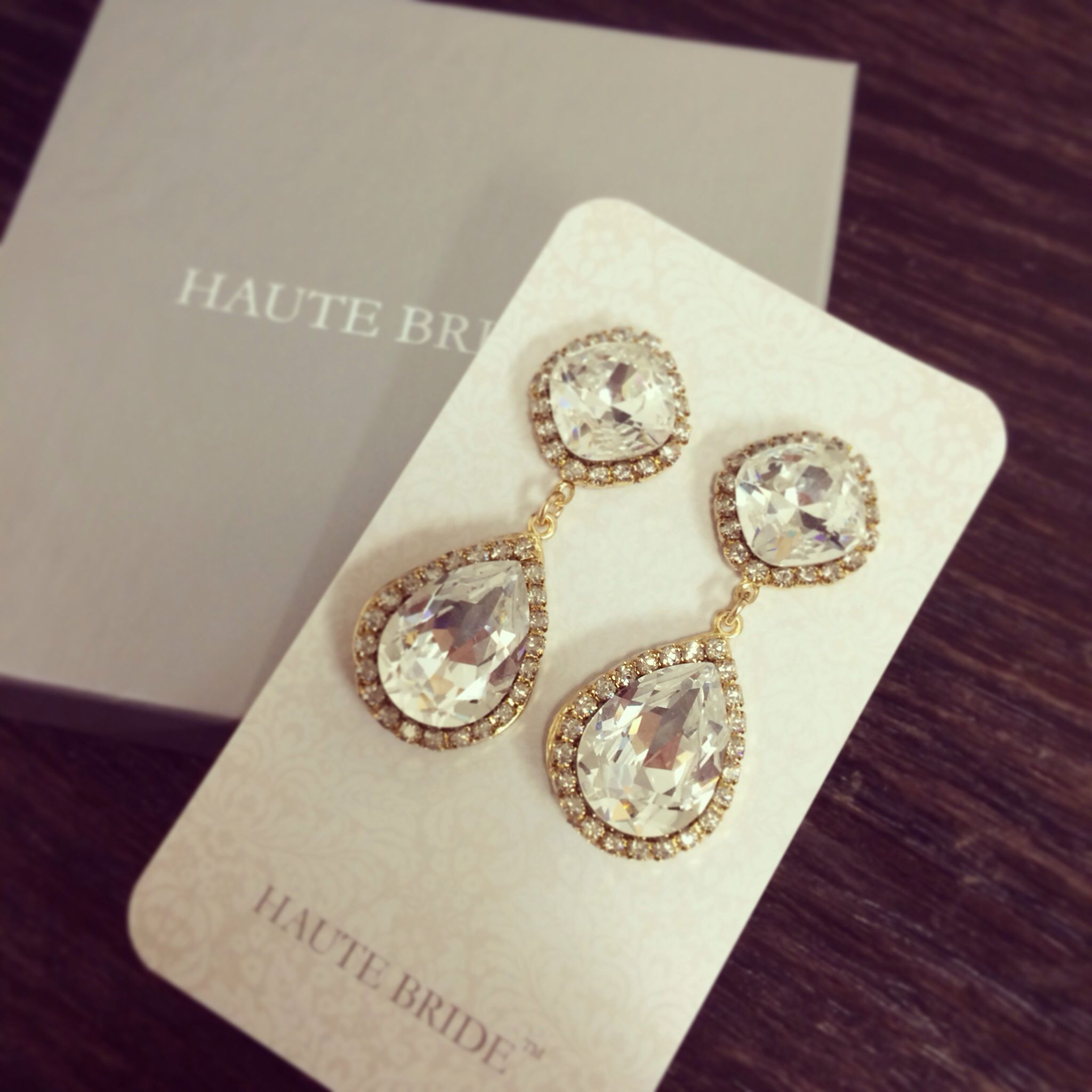 Gold chandelier earrings by Haute Bride