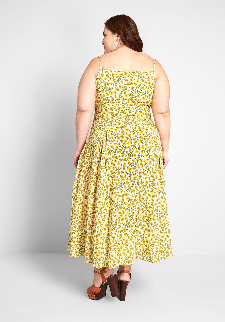 Here Comes The Sunflower Midi Dress Yellow Midi Dress Cotton Midi Dress Dresses [ 1304 x 913 Pixel ]