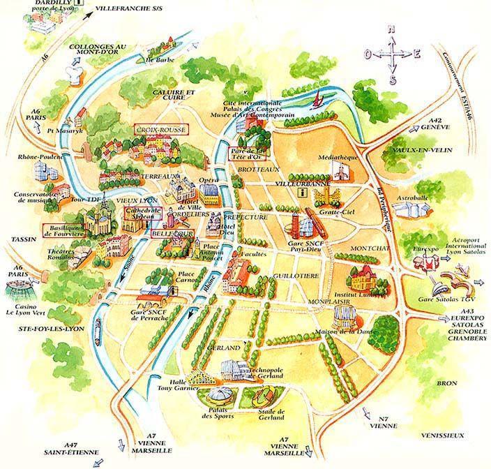 Lyon Map And Lyon Satellite Image Lyon Lyon France Travel Lyon France