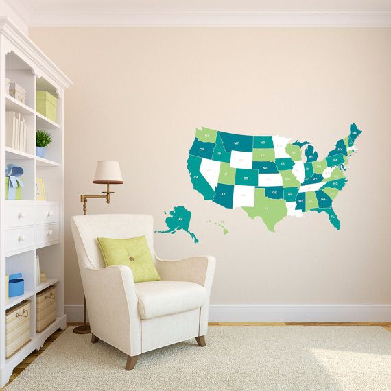 United states map with state abbreviations small multi color wall decal custom