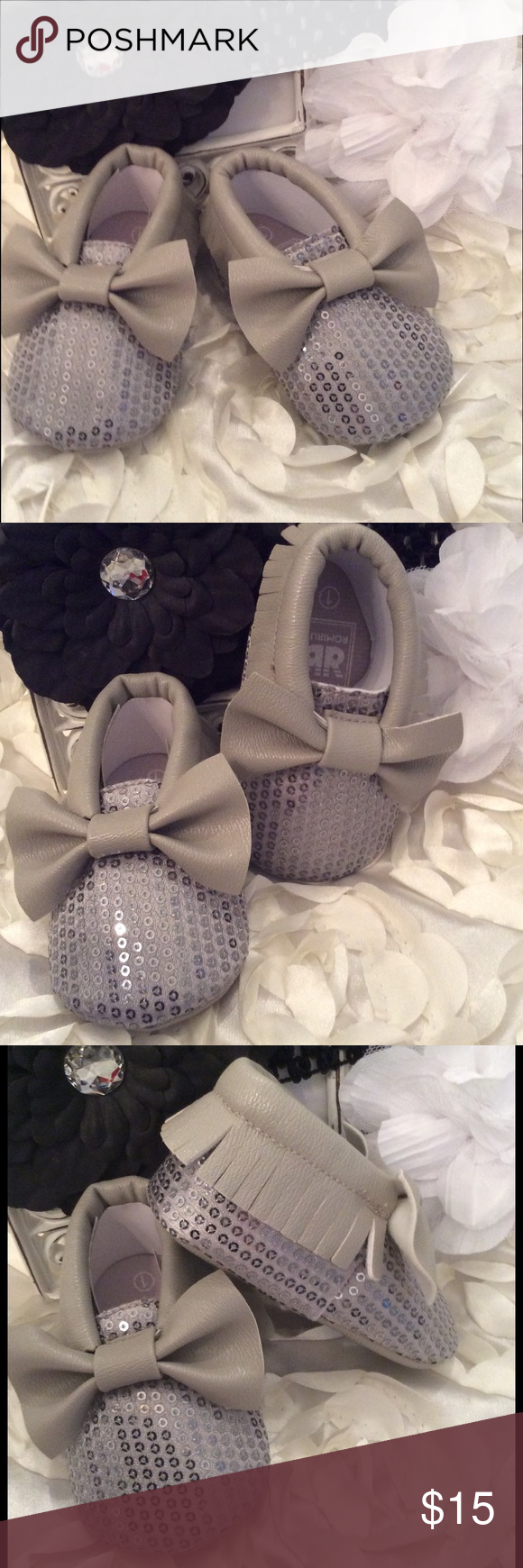 Boutique Baby Girl Sequin Moccasin Bow Crib Shoe Silver sequin tops and gray fringe and bow on top. Very trendy color!!! Shoes Baby & Walker