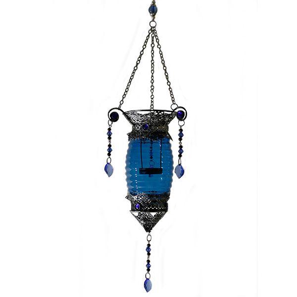 Porta velas alargado azul