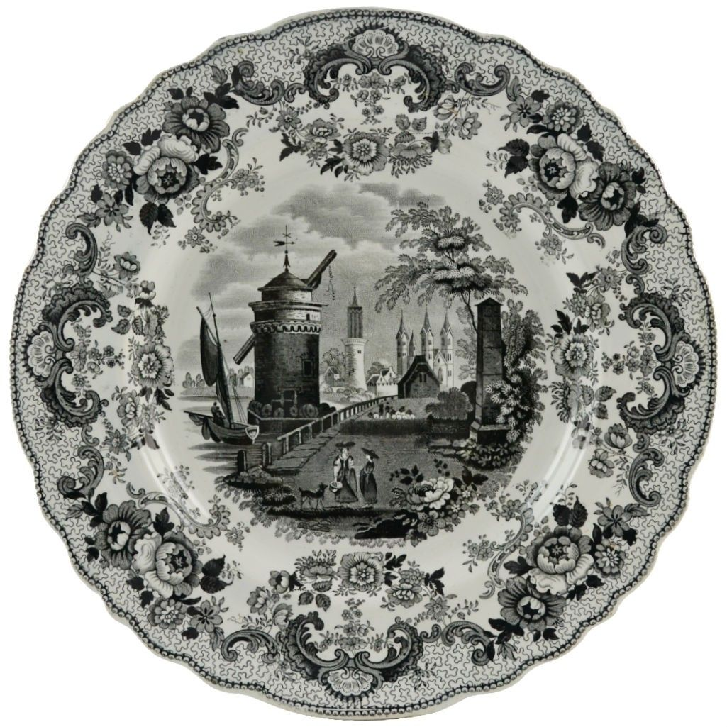 Grisaille Antique English Serving Plate with Landscape Decoration ••.......................  ................................♥...Nims...♥