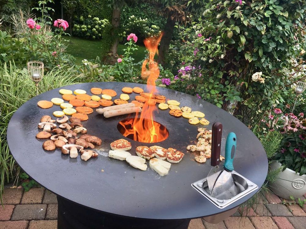 Feuertonne Feuerplatte Grilltonne Plancha Kompletter Grill Mit Tonne Platte Garten Terrasse Grills Ofen Heizstrah Grilltonne Feuerplatte Feuertonnen