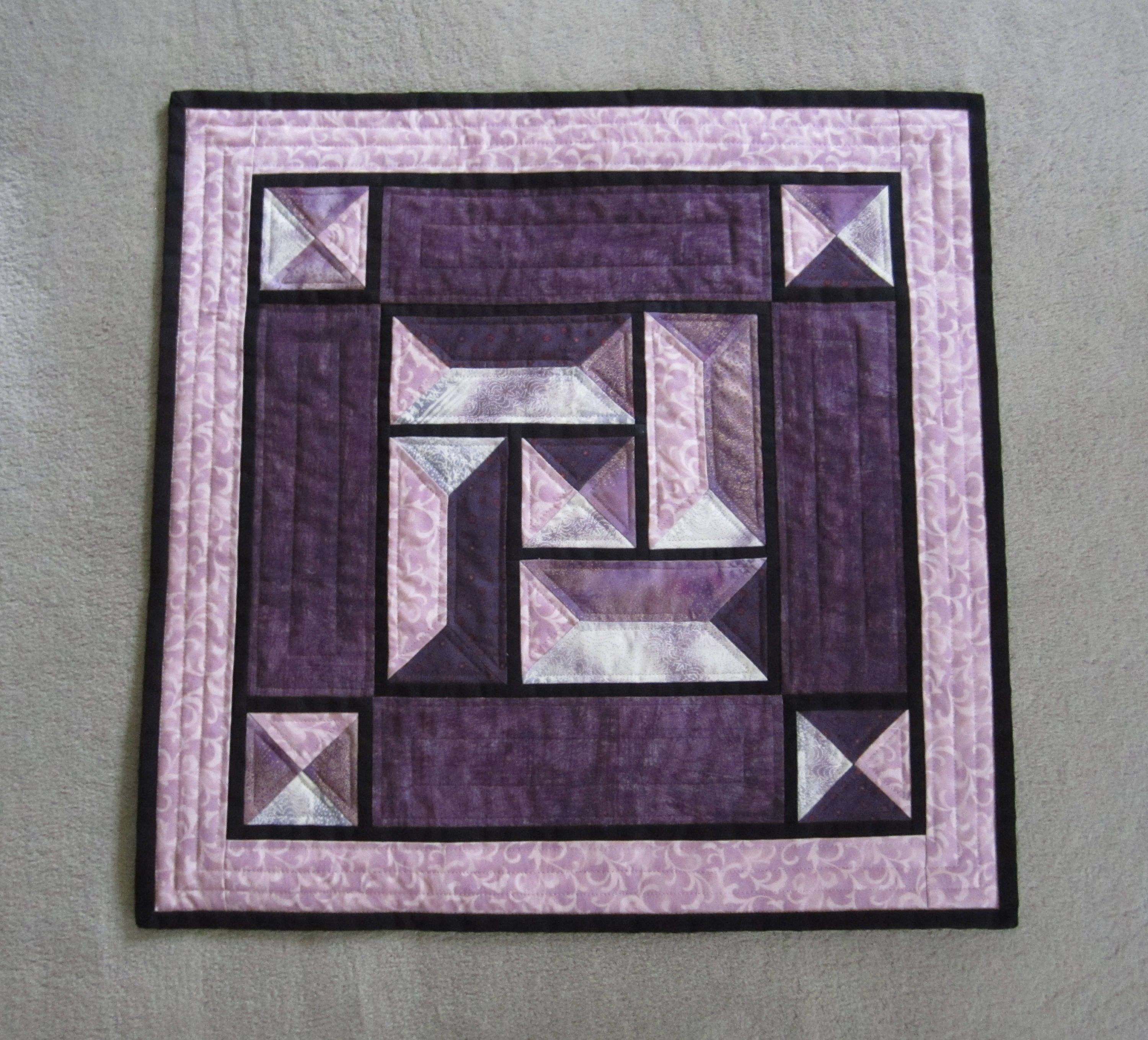 """Quilted Table Topper """"Purple Stained Glass"""" Table Decor, Quiltsy Handmade, Table Center Piece, Mini Quilt by ISewTotes on Etsy"""