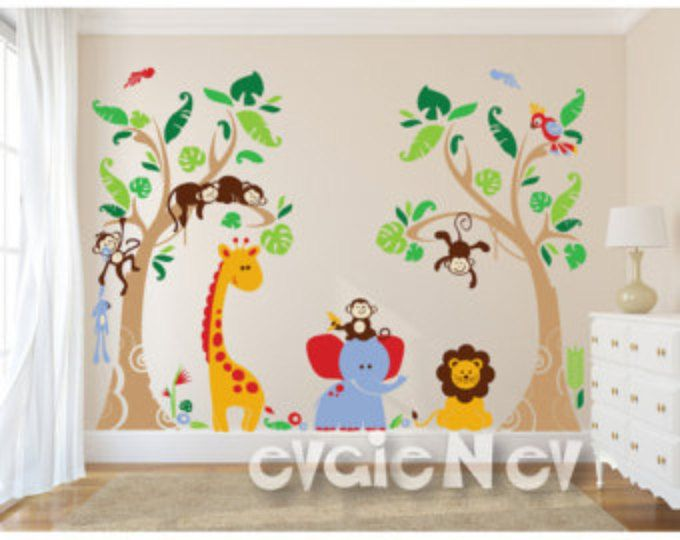 Jungle Safari Wall Decals Baby Nursery Kids Children Pljn040