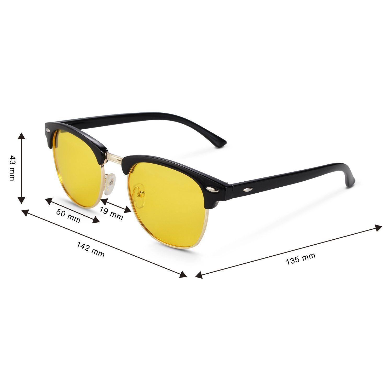59734c04e1 Night Driving Glasses Anti Glare Polarized Sunglasses HD Yellow Lens for  Night Safety Glasses Black 50