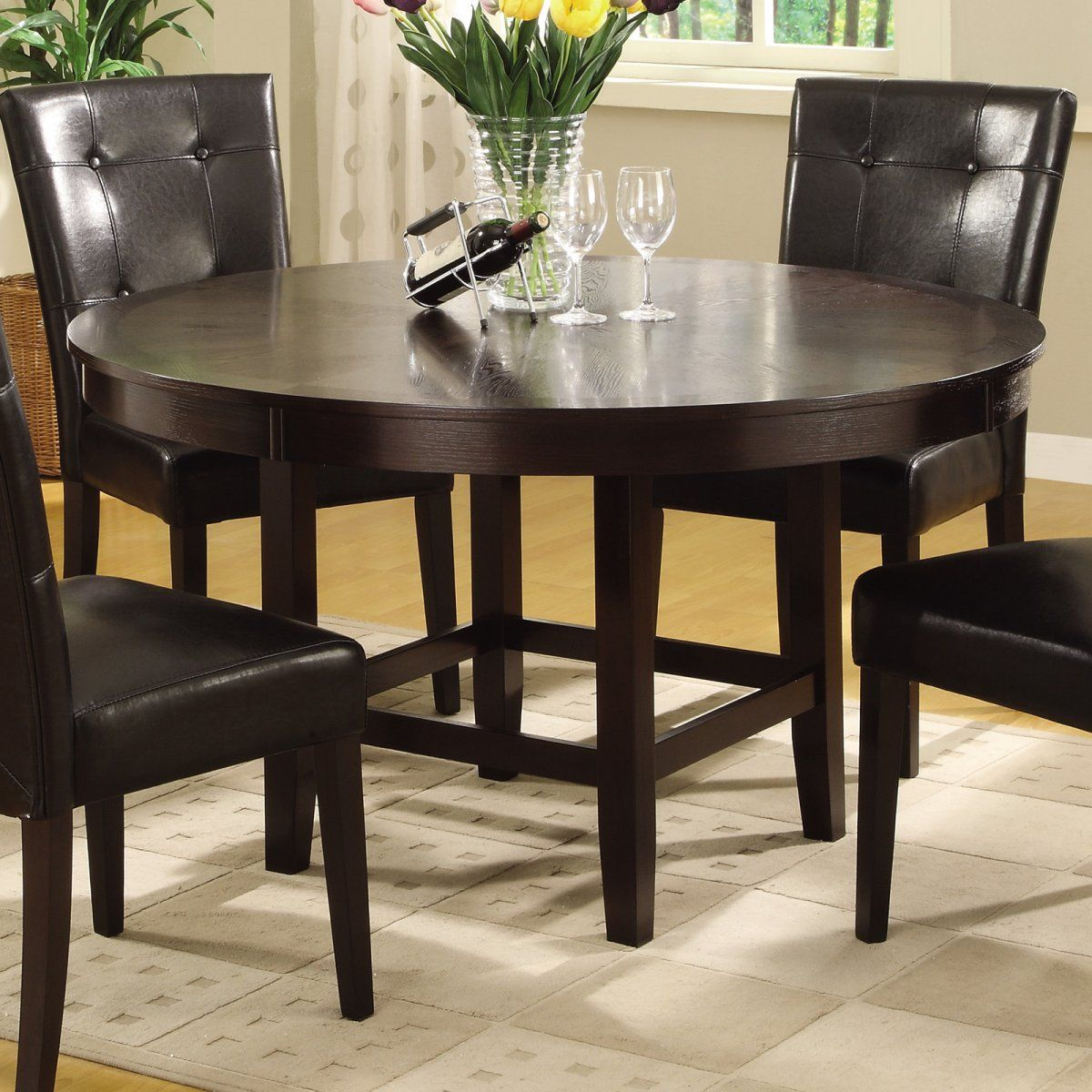 Round Dining Table Dark Chocolate Bossa