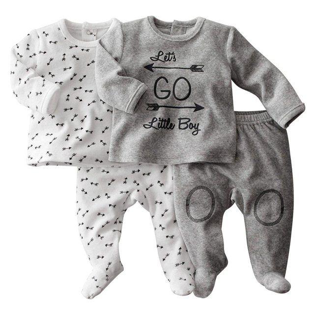 pyjama 2 pi ces en velours lot de 2 r baby c 39 est un gar on pinterest b b. Black Bedroom Furniture Sets. Home Design Ideas