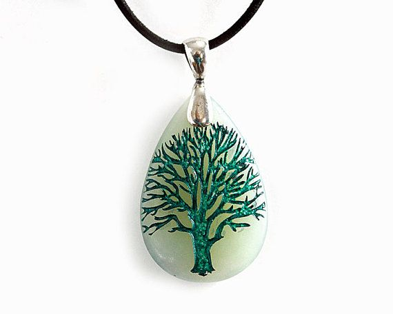 Green Tree of Life Necklace Engraved Stone door CreativeArtandSoul