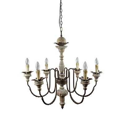 6 Lights Antique Pendant Light with Metal Arms in Rust Finish