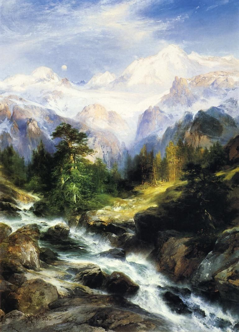Thomas Moran ~ In the Teton Range ~ mountains stream