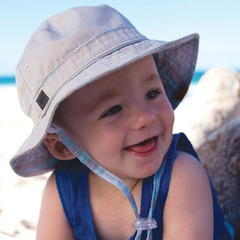 Putty Soft Twill REVERSIBLE to Plaid Baby Boys Sun Hat  559002b6a4c9