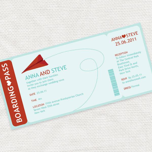 Plane Ticket Wedding Invitations: Paper Plane Boarding Pass Ticket Wedding Invitation