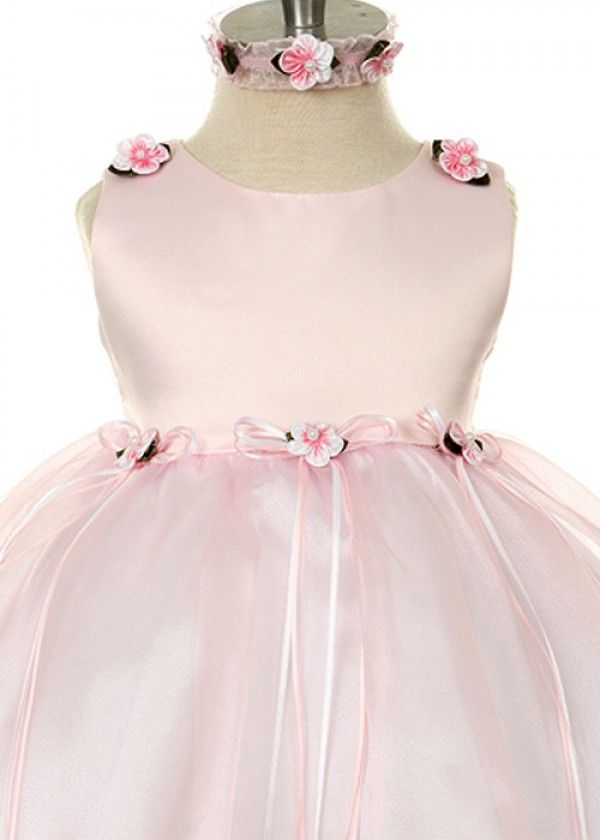 Pink Classical Satin with Organza Infant Dress