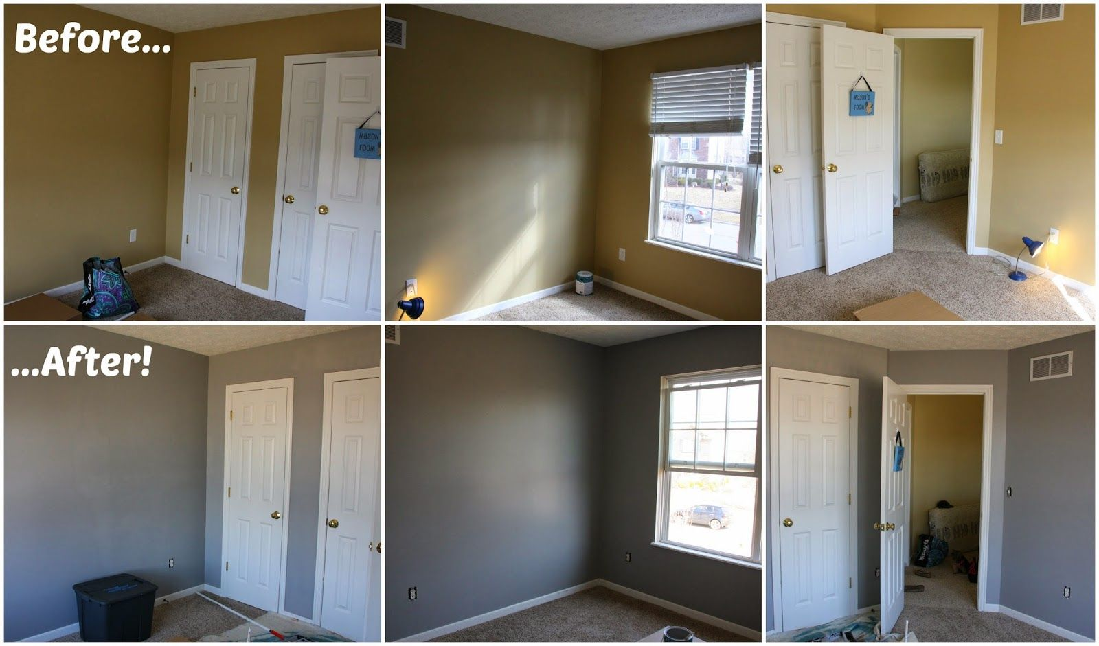Before (Sherwin Williams Safari) & After (Behr Flannel Gray)! | Home