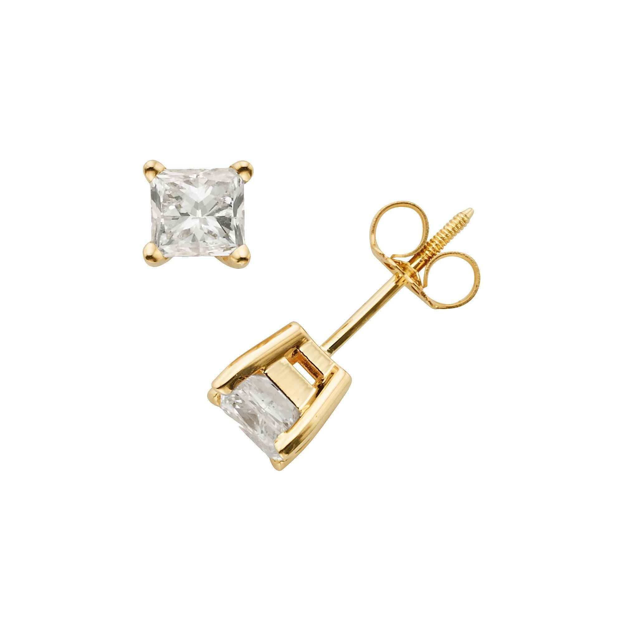 14k Gold 1 ct T W IGI Certified Princess Cut Diamond Solitaire