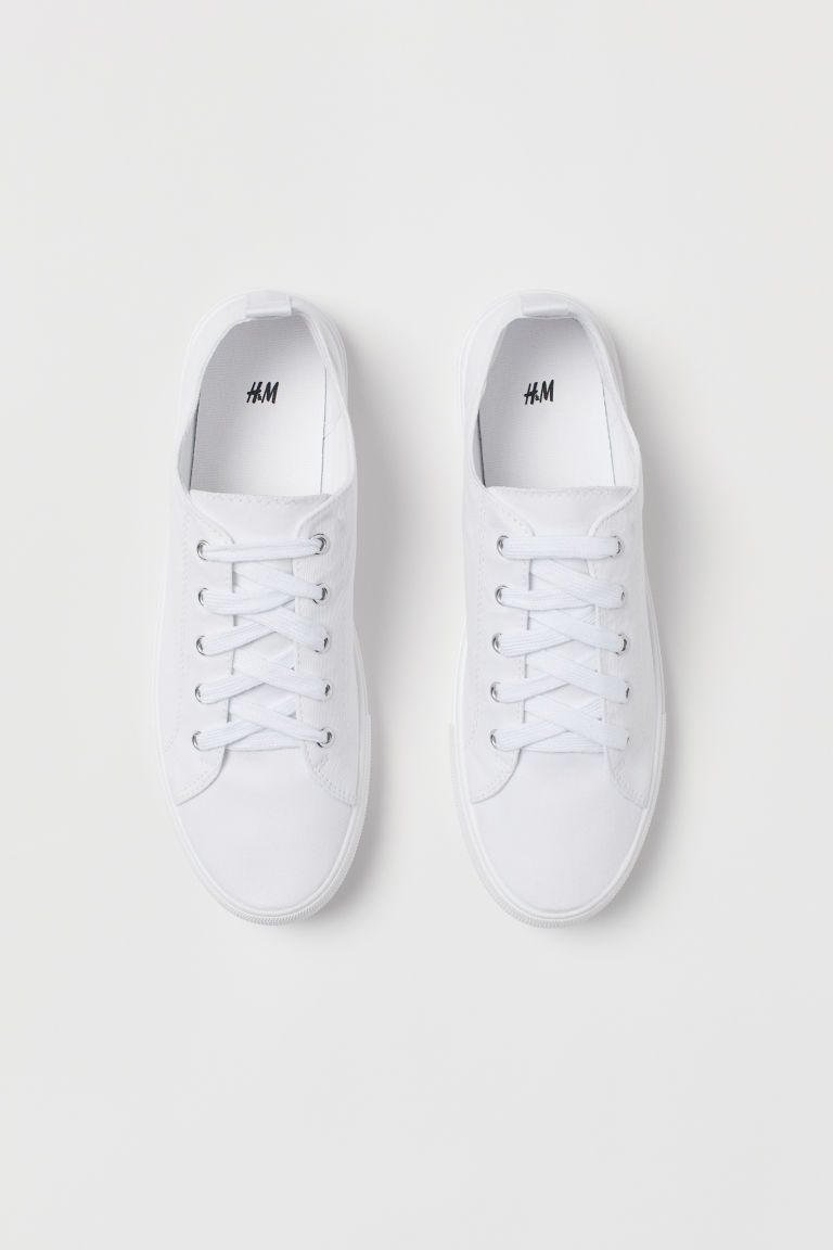 Plocienne Buty Sportowe Bialy Ona H M Pl Canvas Shoes Outfit White Canvas Shoes Tennis Shoe Outfits Summer