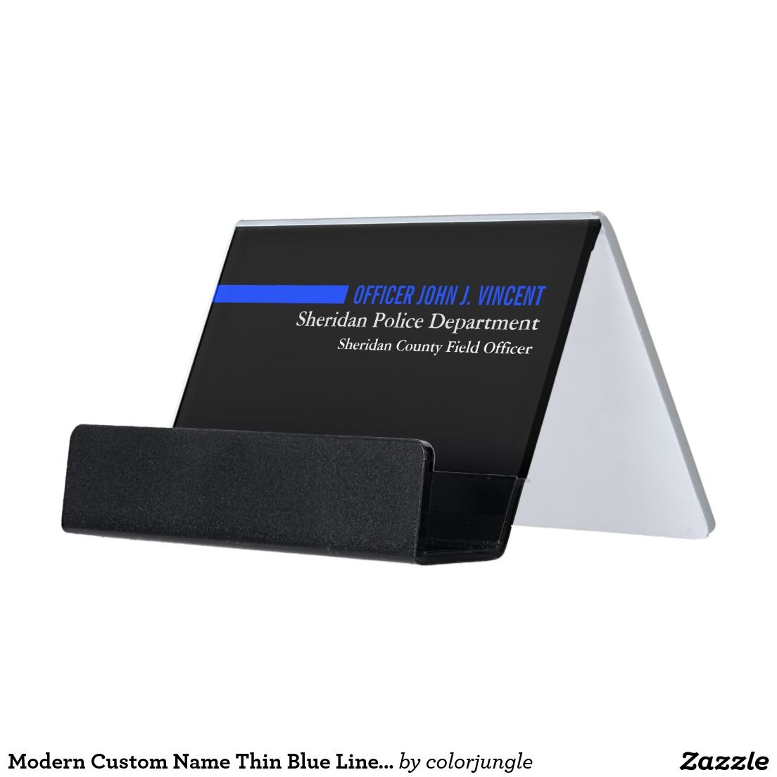modern custom name thin blue line police desk business card holder - Police Business Cards