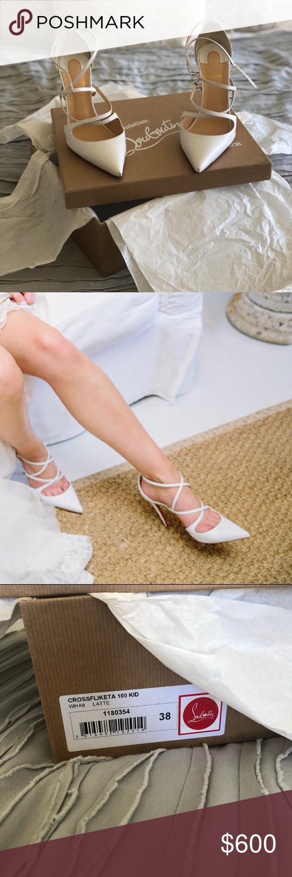 "c829e2d8872e Christian Louboutin Crossfliketa Heels in ""Latte"" Size 38 (US 8) Christian  Louboutin heels in ""Latte"" (white). Worn once on my wedding day"