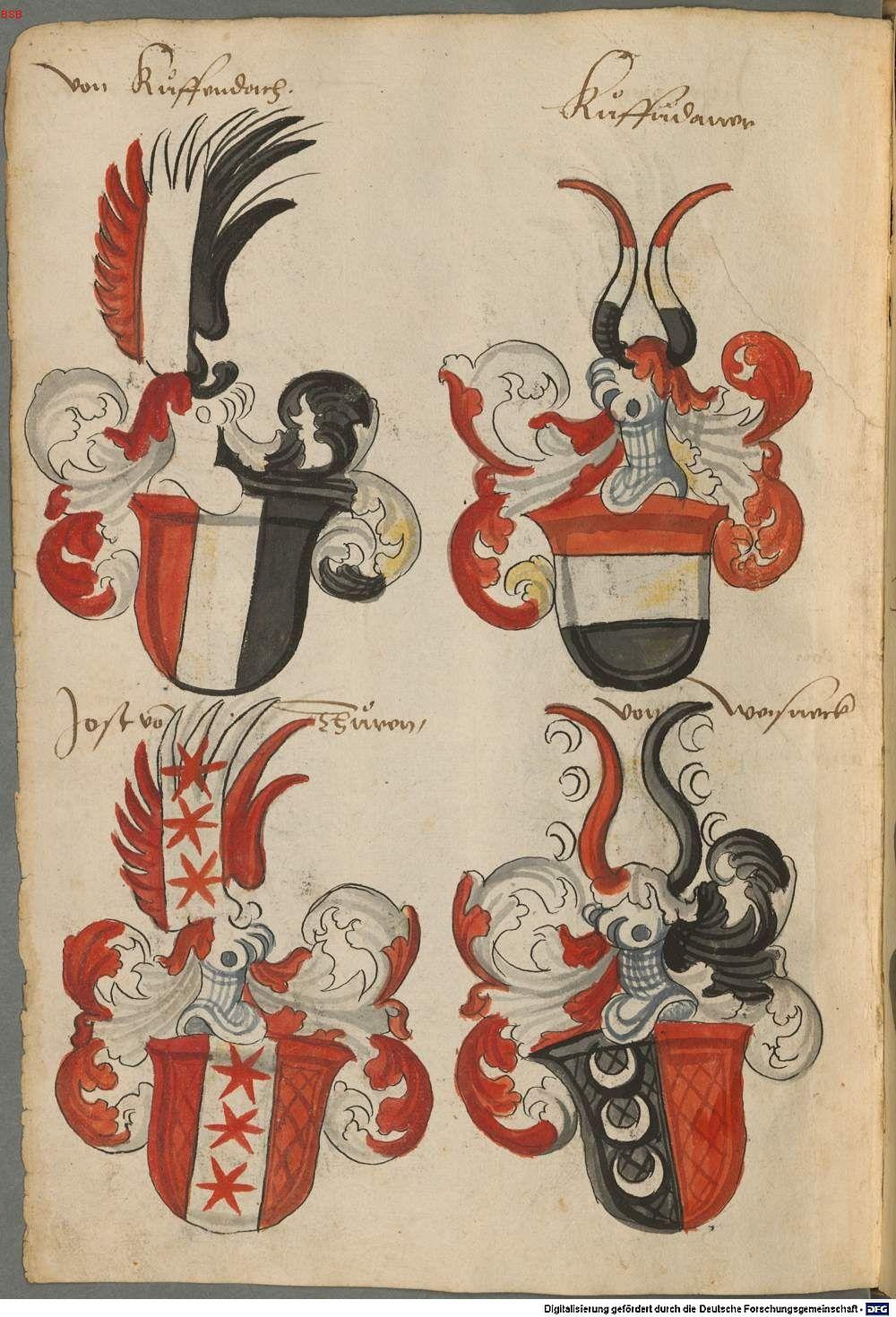 Wappen deutscher Geschlechter Augsburg ?, 4. Viertel 15. Jh. Cod.icon. 311  Folio 54v