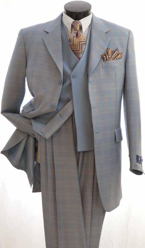 0484392a Vittorio St. Angelo Men's Fashion 3pc Suit Collection - Wide Leg Pants