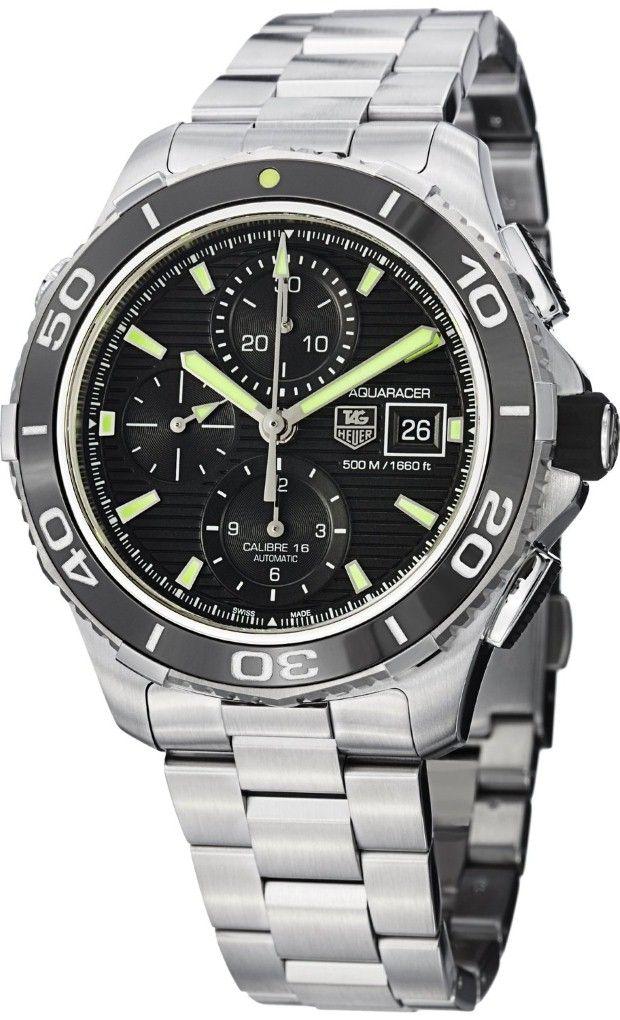 Men Watches : Tag Heuer Aquaracer Black Dial Chronograph ...